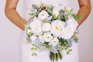 green white Silk flower peony bouquet