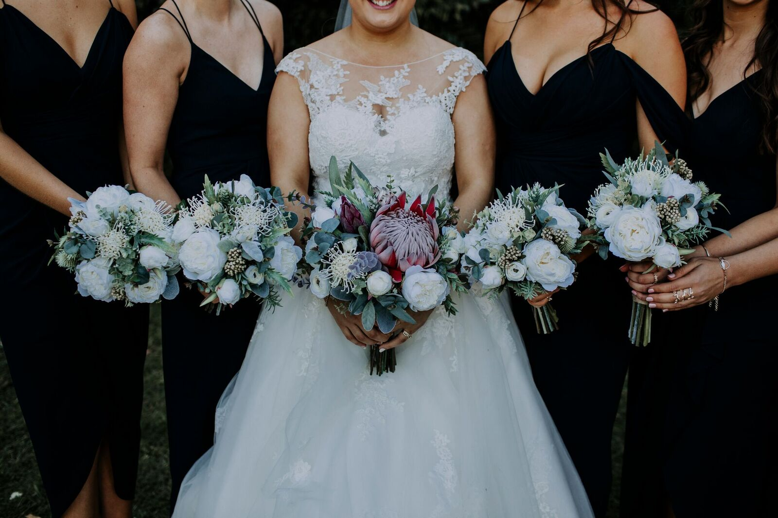Peony and native bouquets on Navy Maids – image by Down the rabbithole productions