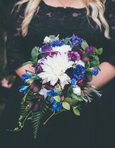 Purple and blue cascade bouquet - image by Ethereal Photography