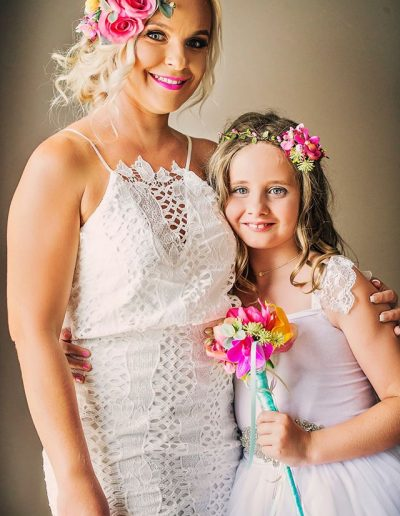 Bright Beach Fiesta flower crown,  faux flower flower girl wand-  image by Bernadette Draffin Photography #bloominglovelybouquets