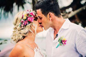 Bright Beach Fiesta wedding bouquet, Flower crown