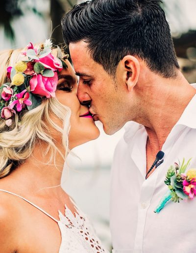Bright Beach Fiesta wedding bouquet, Flower crown faux flower wedding bouquet –  image by Bernadette Draffin Photography #bloominglovelybouquets