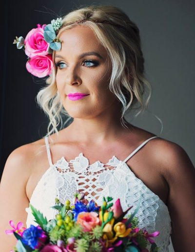 Bright Beach Fiesta wedding bouquet, Flower crown faux flower wedding bouquet -  image by Bernadette Draffin Photography #bloominglovelybouquets