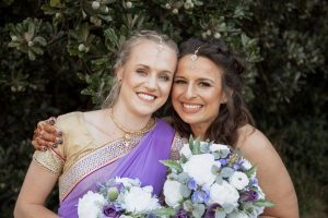 Sari Wedding, Indian Wedding, purple bouquets