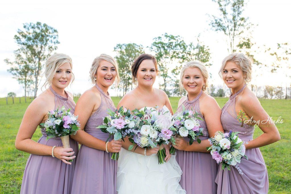 native Faux Flower Bouquets lilac maids dresses