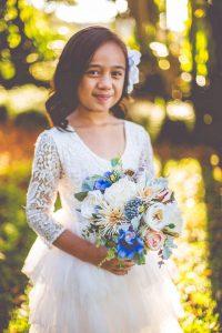 Flower girl - faux flower blue bouquet