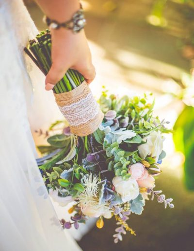 amazing details in faux flower bouquet - rustic wedding - image by Graeme Passmore Photography #bloominglovelybouquets