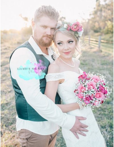 Bridal Flower Crown Rustic babies breath and pink bright bouquet faux flowers - image by Elizabeth Pohlmann  Photography #bloominglovelybouquets