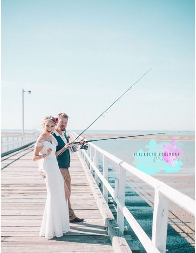 The Couple that fishes together stays together! Bridal Flower Crown Rustic babies breath and pink bright bouquet faux flowers - image by Elizabeth Pohlmann  Photography #bloominglovelybouquets