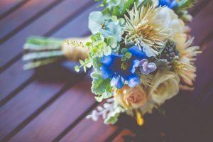 Blue and peach faux flower bouquet