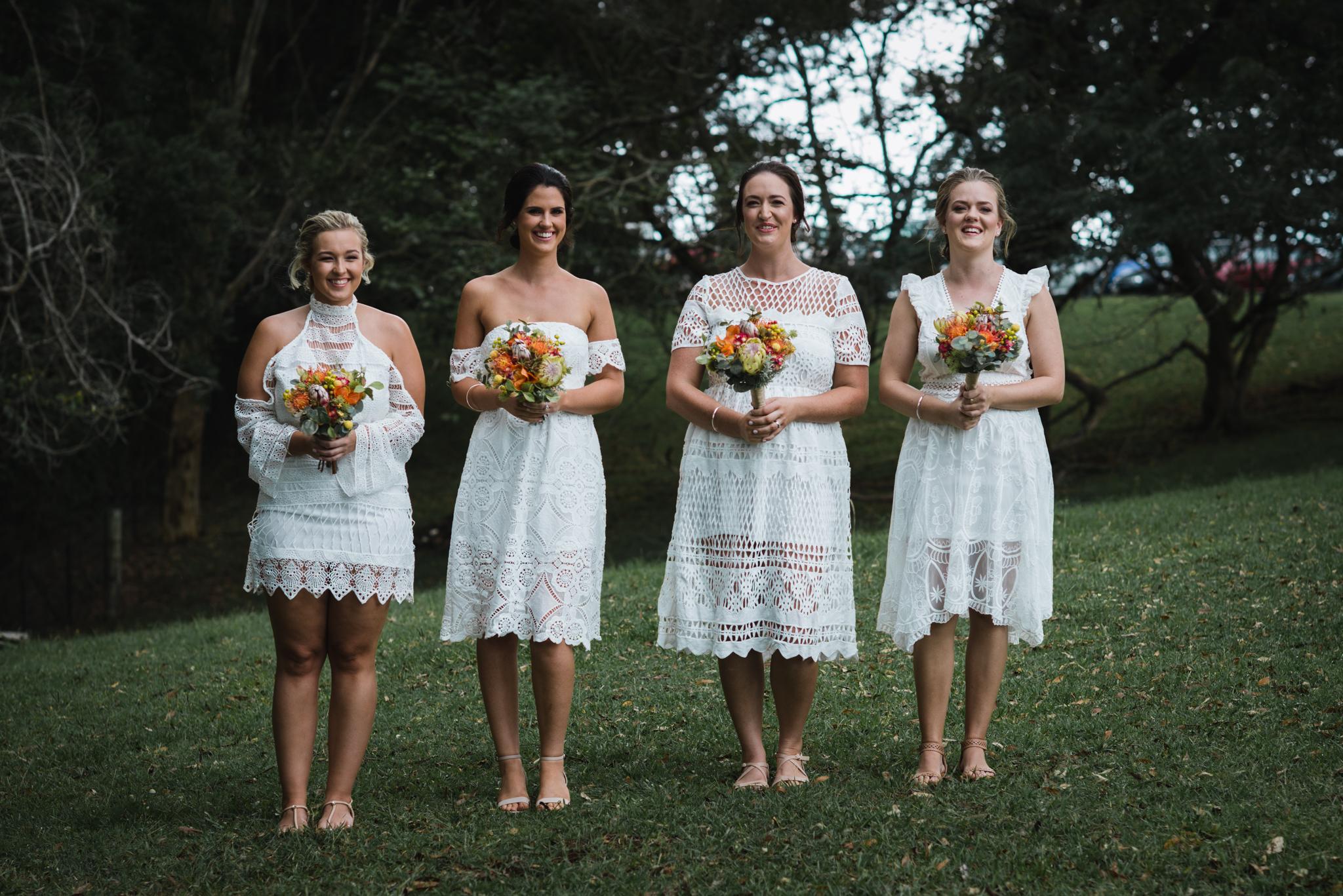 Mixmatched boho bridesmaids, Native bouquets,