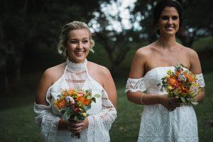 Mixmatched boho bridesmaids, Native bouquets