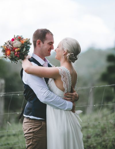 Native bouquet, Anna Campbell Dress, faux flowers image by  LOVELENSCAPES WEDDING PHOTOGRAPHY – BROCKHURST FARM WEDDING #bloominglovelybouquets
