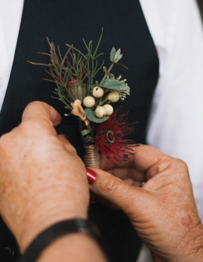 Native Buttonholes, boutonnieres, Native bouquets, faux flowers image by  LOVELENSCAPES WEDDING PHOTOGRAPHY – BROCKHURST FARM WEDDING #bloominglovelybouquets