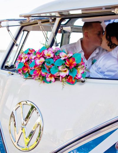 Beach wedding, bright bouquets Kombi wedding - image by Jane Gibley Photography