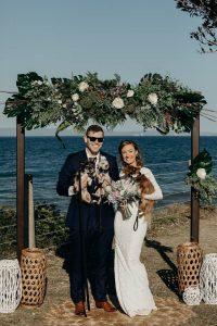 Puppy wedding love, faux native bouquet