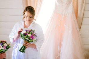 Bride and spring faux flower bouquet