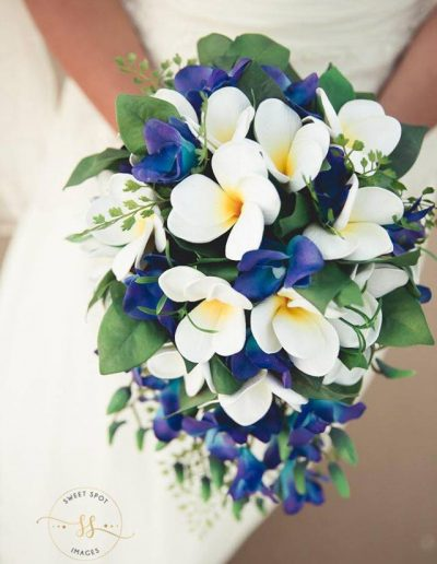 Beach Faux Flower Wedding Bouquet Frangipani & Orchids Image by Sweet Spot Images #Bloominglovelybouquets