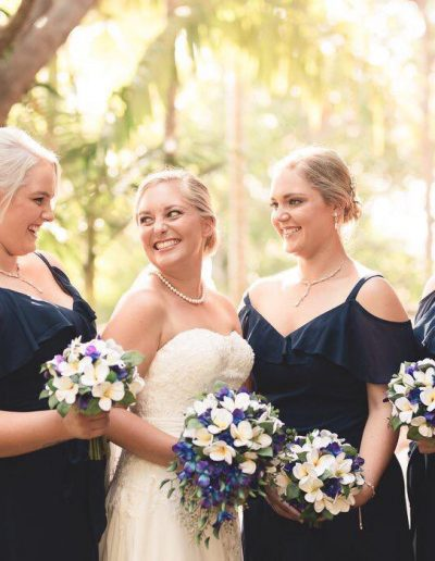 Beach Faux Flower Wedding Bouquet Frangipani & Orchids on Navy Maids- Image by Sweet Spot Images #Bloominglovelybouquets