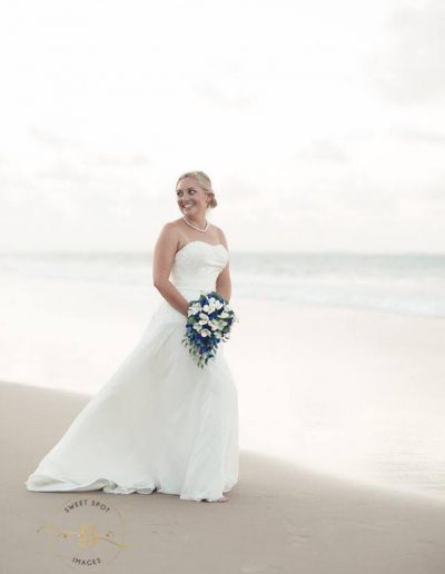 Beach Faux Flower Wedding Bouquets Frangipani & Orchids - Image by Sweet Spot Images