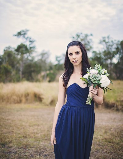 Navy Bridesmaid, faux flowers, image by Bernadette Draffin Photography #bloominglovelybouquets