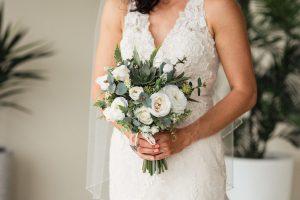 Vanilla Roses and Succulent Faux Flower Bouquet