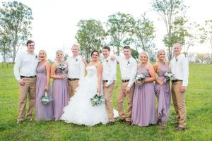 Country rustic wedding flowers - Lilac Bridesmaids