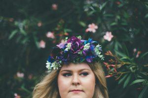 Purple flower crown, faux flower crown
