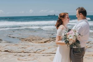 Caloundra wedding pink and white rustic bouquet,
