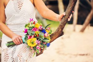 Bright Beach Fiesta wedding bouquet