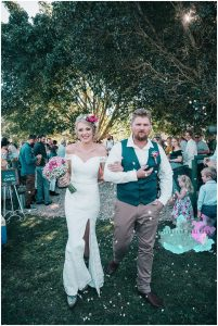 Just married Bride with Flower Crown pink bouquet