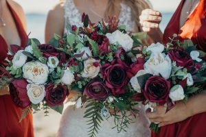 burgundy and peach rustic bouquet