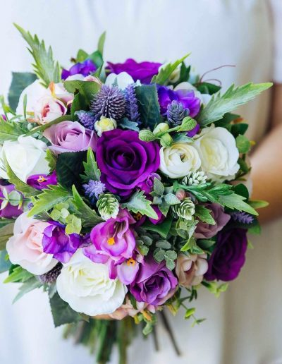 Ultra violet purple pink and white faux flower bouquet – image by www.indiestudios.com.au  #bloominglovelybouquets