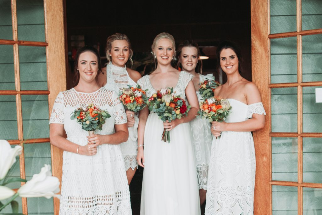 Mixmatched boho bridesmaids, Native bouquets, Anna Campbell Dress,