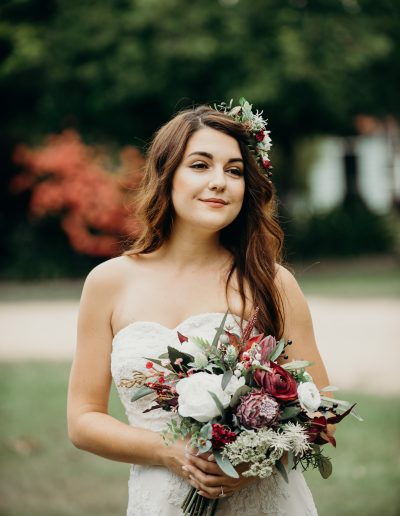 Burgundy boho faux flower bouquet & Bridal floral hair comb image by Cloud Catcher Studio #bloominglovelybouquets #sunshinecoastpopupweddings