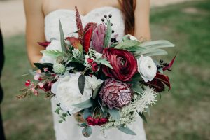 Burgundy boho faux flower bouquet
