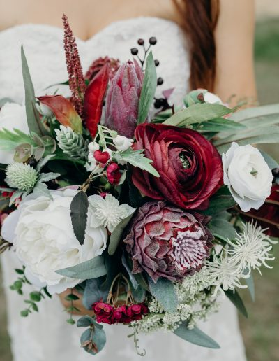 Burgundy boho faux flower bouquet image by Cloud Catcher Studio  #sunshinecoastpopupweddings #bloominglovelybouquets