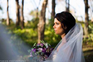 Bride with Purple silk bouquet