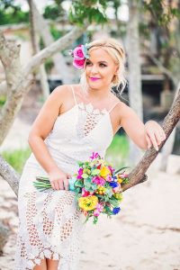 Bright Beach Fiesta wedding bouquet, faux flower crown