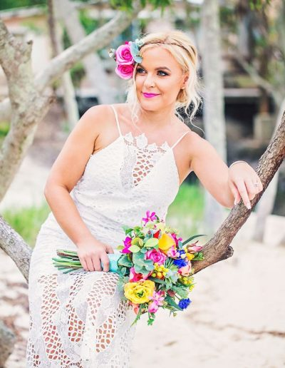Bright Beach Fiesta wedding bouquet,  faux flower wedding bouquet -  image by Bernadette Draffin Photography #bloominglovelybouquets