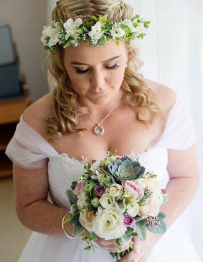 Pastel Wedding - Faux flower crown, Faux Bouquet, Succulent bouquet image by Jane Gibley Photography