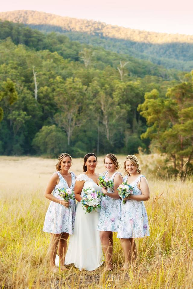 Floral Bridesmaid dresses, pink and blue bouquets