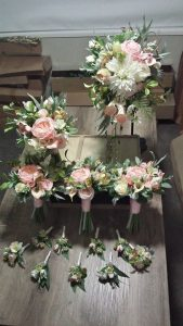 Faux Flower bouquets pink and white