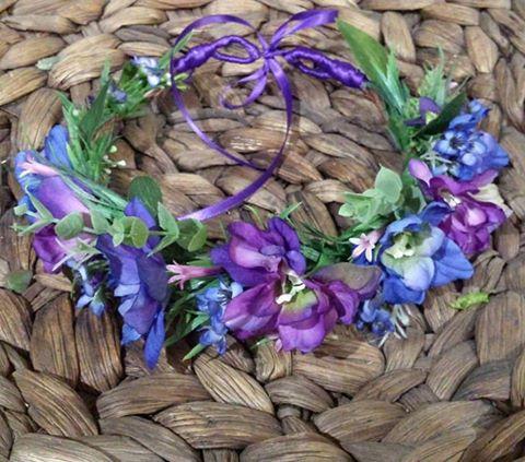 purple Blue Faux flower crown