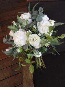 Green & White Boho Bouquet Faux Flowers
