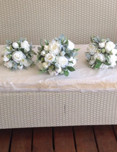 White & Green Bouquets Faux Flowers