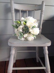 White & Green Succulent Bouquet Faux Flowers