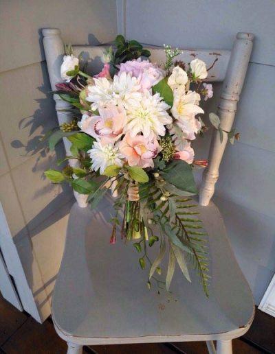 Boho pink cascading bouquet