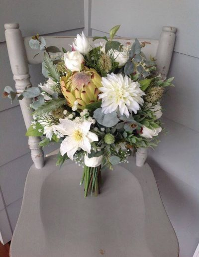 white and green native bouquet