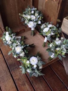 Green & White unstructured bouquet faux flowers